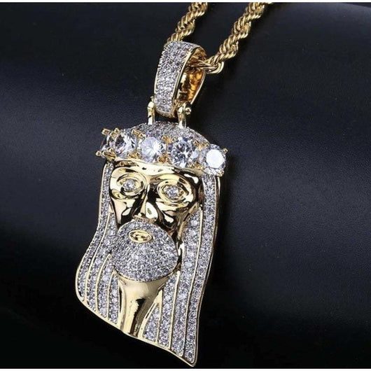 Iced Out Jesus Piece Diamond - Stud Band ,  , Green Box Jewellers - Custom Diamond Pendant - Diamond Jewelry - Custom Diamond Jewelry - Diamond Iced Out Hip Hop Jewelry