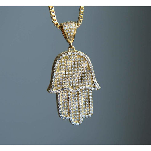 Hamsa Hand Pendant , Pendant , Green Box Jewellers - Custom Diamond Pendant - Diamond Jewelry - Custom Diamond Jewelry - Diamond Iced Out Hip Hop Jewelry