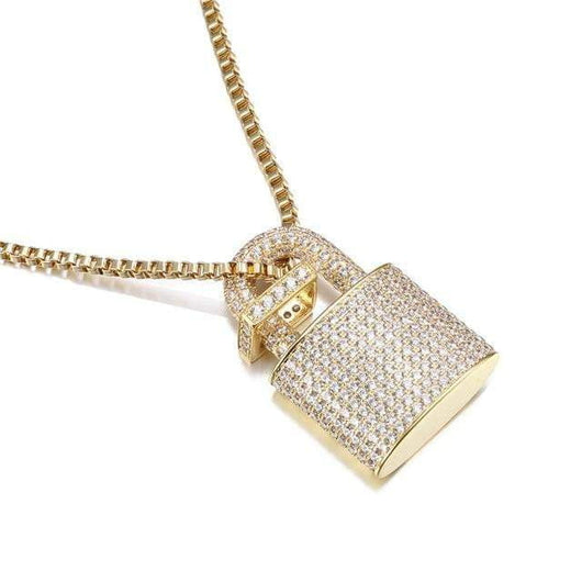 Micro Paved Pad Lock Pendant ,  , Green Box Jewellers - Custom Diamond Pendant - Diamond Jewelry - Custom Diamond Jewelry - Diamond Iced Out Hip Hop Jewelry
