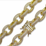 24k Iced out Rolo Link bracelet - Green Box Jewellers