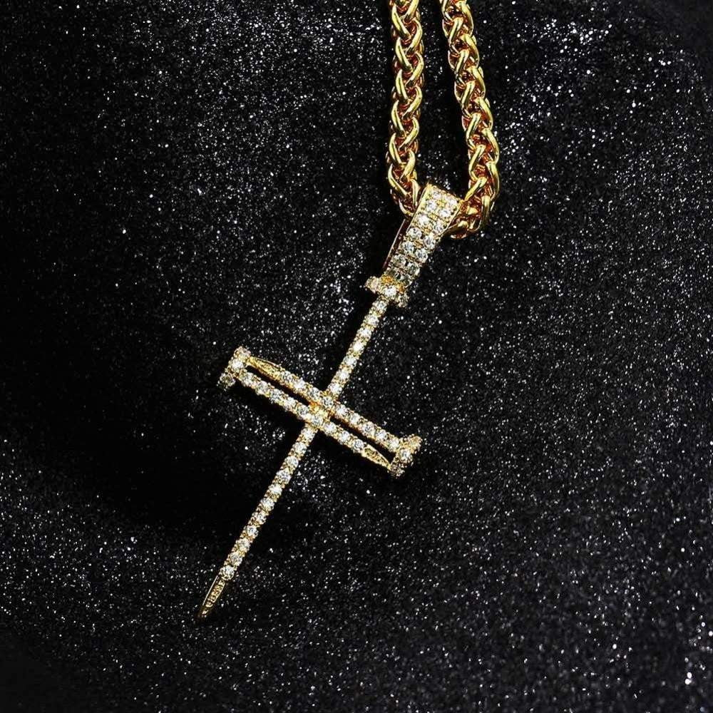 Nail Cross Pendent , Necklace , Green Box Jewellers - Custom Diamond Pendant - Diamond Jewelry - Custom Diamond Jewelry - Diamond Iced Out Hip Hop Jewelry
