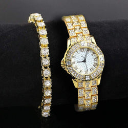 Fully Iced Out 18K Gold Watch And Bracelet Set - Green Box Jewellers