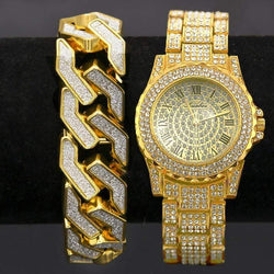 2pc Iced Out Miami Cuban Link Bracelet & Watch - Green Box Jewellers