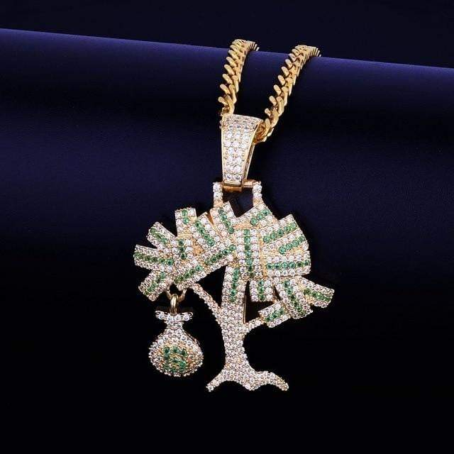 24K VVS Fully Iced Out Money Tree Pendant  -   - GreenBox Jewellers - Hip Hop Jewelry - iced out pendant - gold cuban link - shop gld - gld - gold jewelry