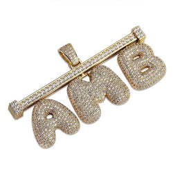 Bar Attached Custom Bubble Letters ,  , Green Box Jewellers - Custom Diamond Pendant - Diamond Jewelry - Custom Diamond Jewelry - Diamond Iced Out Hip Hop Jewelry