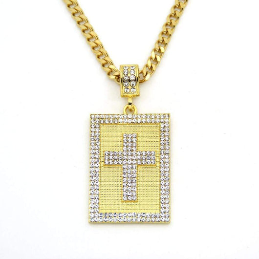 Fully Iced Out Cross Dog Tag Pendant - Green Box Jewellers