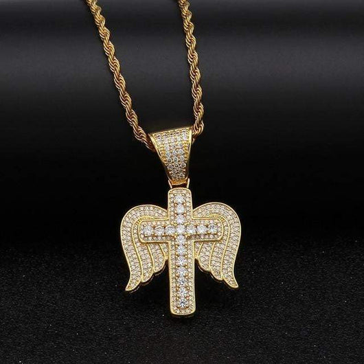 14K Iced Out Cross With Angel Wings ,  , Green Box Jewellers - Custom Diamond Pendant - Diamond Jewelry - Custom Diamond Jewelry - Diamond Iced Out Hip Hop Jewelry