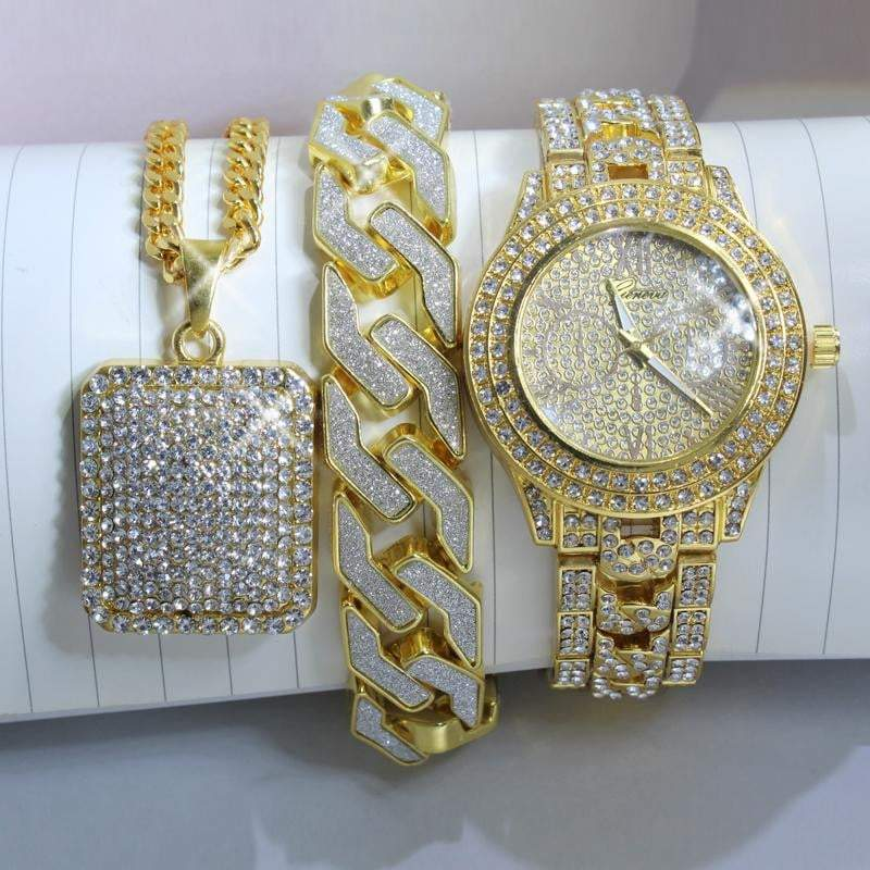 3pc Ice Time Set  -   - GreenBox Jewellers - Hip Hop Jewelry - iced out pendant - gold cuban link - shop gld - gld - gold jewelry