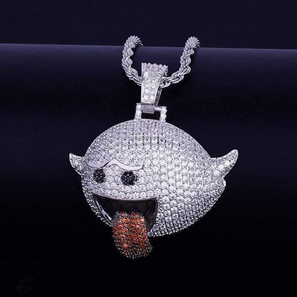 Iced Out Mario Ghost ,  , Green Box Jewellers - Custom Diamond Pendant - Diamond Jewelry - Custom Diamond Jewelry - Diamond Iced Out Hip Hop Jewelry