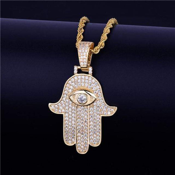 24K Iced Out Hamsa Hand Pendant - Green Box Jewellers