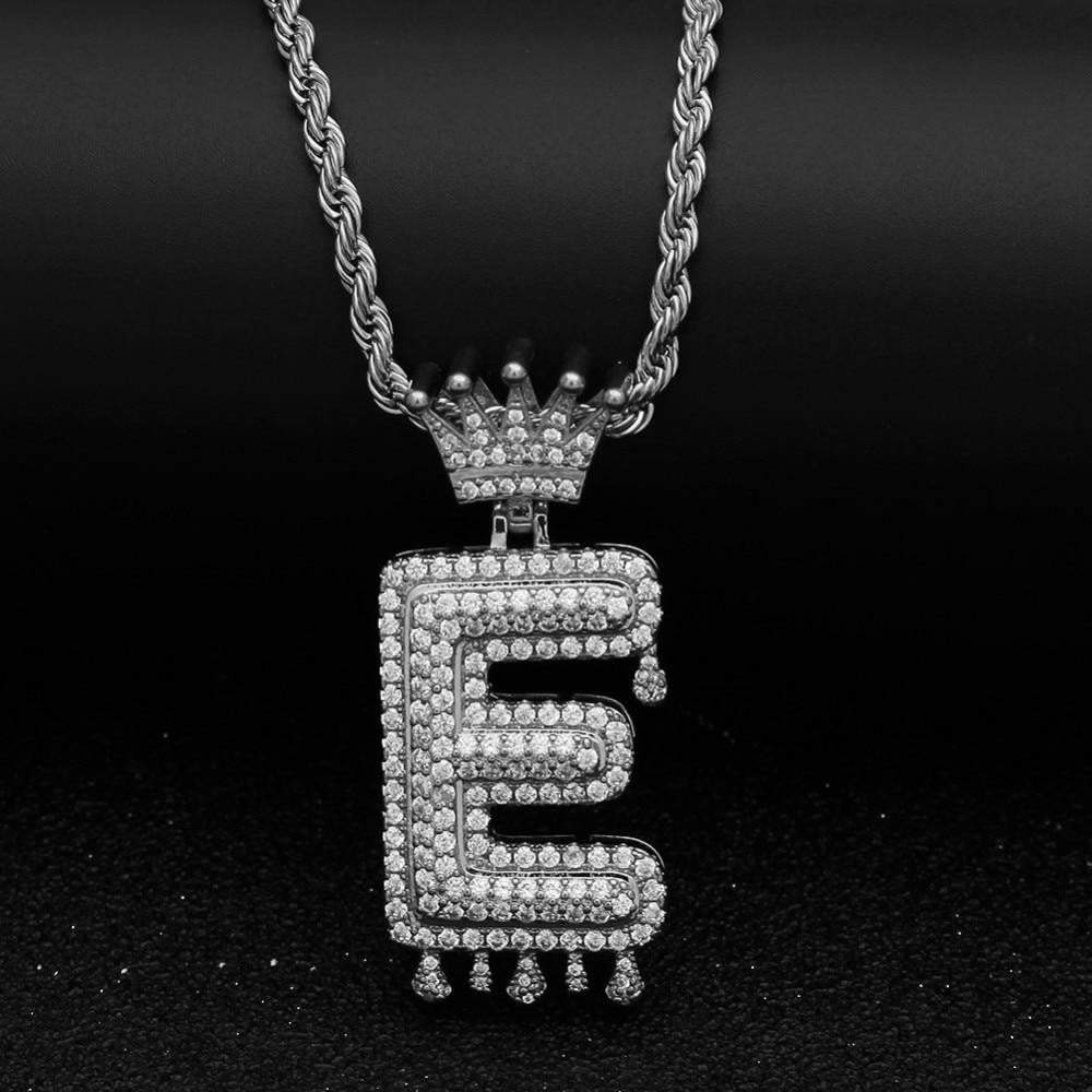 Custom Crown Bail Drip Bubble Initial Letters  -   - GreenBox Jewellers - Hip Hop Jewelry - iced out pendant - gold cuban link - shop gld - gld - gold jewelry