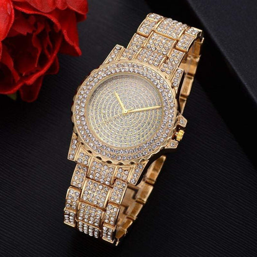Silver/Gold Fully Micro Paved Diamond Watch , Wrist Watch , Green Box Jewellers - Custom Diamond Pendant - Diamond Jewelry - Custom Diamond Jewelry - Diamond Iced Out Hip Hop Jewelry