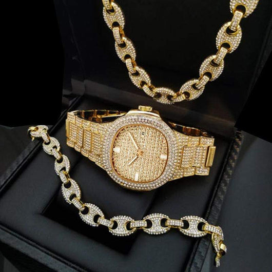 Fully Iced Out Gucci 3pc Set ,  , Green Box Jewellers - Custom Diamond Pendant - Diamond Jewelry - Custom Diamond Jewelry - Diamond Iced Out Hip Hop Jewelry