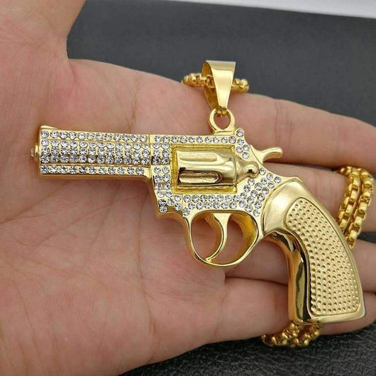 Fully Iced Out Big Revolver Pendant ,  , Green Box Jewellers - Custom Diamond Pendant - Diamond Jewelry - Custom Diamond Jewelry - Diamond Iced Out Hip Hop Jewelry