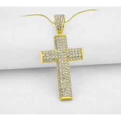10k Solid Yellow Gold Iced Out Cross Pendant ,  , Green Box Jewellers - Custom Diamond Pendant - Diamond Jewelry - Custom Diamond Jewelry - Diamond Iced Out Hip Hop Jewelry
