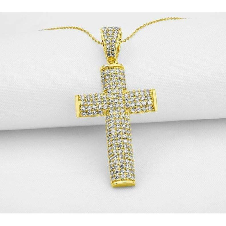 10k Solid Yellow Gold Iced Out Cross Pendant  -   - GreenBox Jewellers - Hip Hop Jewelry - iced out pendant - gold cuban link - shop gld - gld - gold jewelry