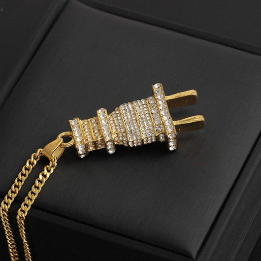 14K Iced Out Plug Pendants + FREE Chain , Pendant Necklaces , Green Box Jewellers - Custom Diamond Pendant - Diamond Jewelry - Custom Diamond Jewelry - Diamond Iced Out Hip Hop Jewelry