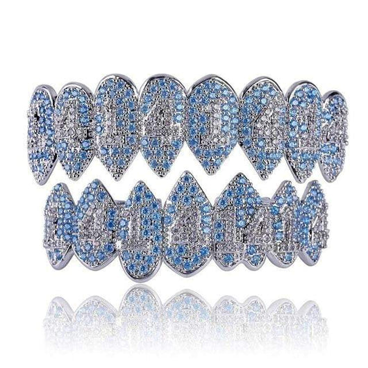 Fully Iced Out Blue & Clear Diamond 1414 8pc Grill - Green Box Jewellers