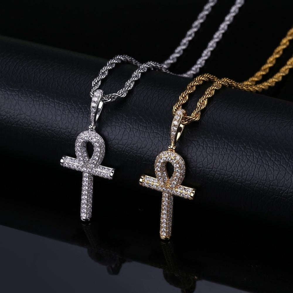 Solid Back Ankh Cross ,  , Green Box Jewellers - Custom Diamond Pendant - Diamond Jewelry - Custom Diamond Jewelry - Diamond Iced Out Hip Hop Jewelry