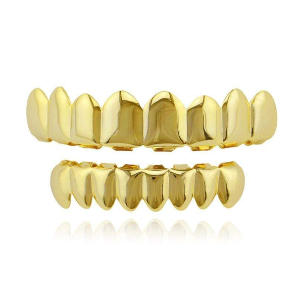 8pc 24K Gold Top & Bottom Grillz - Green Box Jewellers