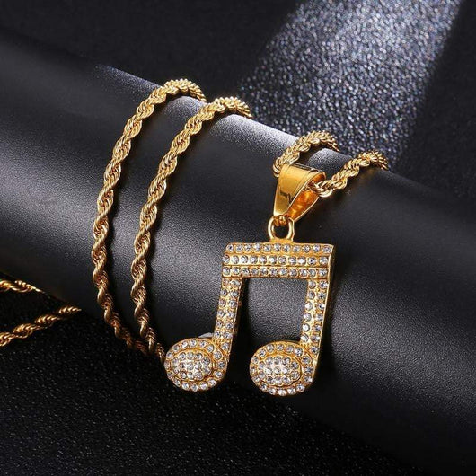 Iced Out Music Note - Green Box Jewellers
