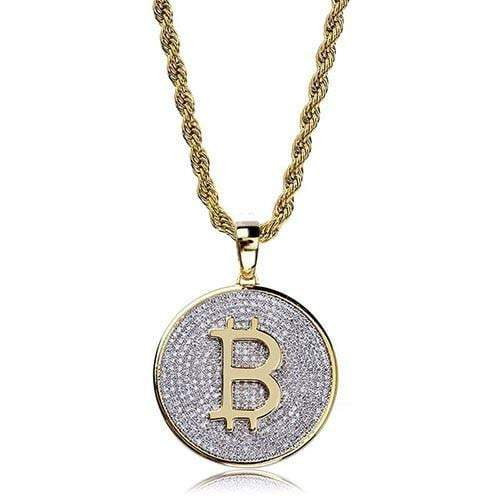 24K Iced Out Bitcoin Medallion ,  , Green Box Jewellers - Custom Diamond Pendant - Diamond Jewelry - Custom Diamond Jewelry - Diamond Iced Out Hip Hop Jewelry