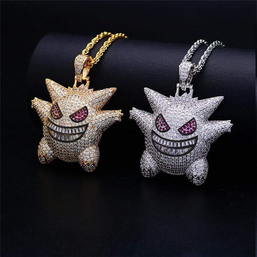 2 Toned Fully Iced Out Gengar Character Pendant and Necklace ,  , Green Box Jewellers - Custom Diamond Pendant - Diamond Jewelry - Custom Diamond Jewelry - Diamond Iced Out Hip Hop Jewelry