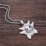 2 Toned Fully Iced Out Gengar Character Pendant and Necklace - Green Box Jewellers