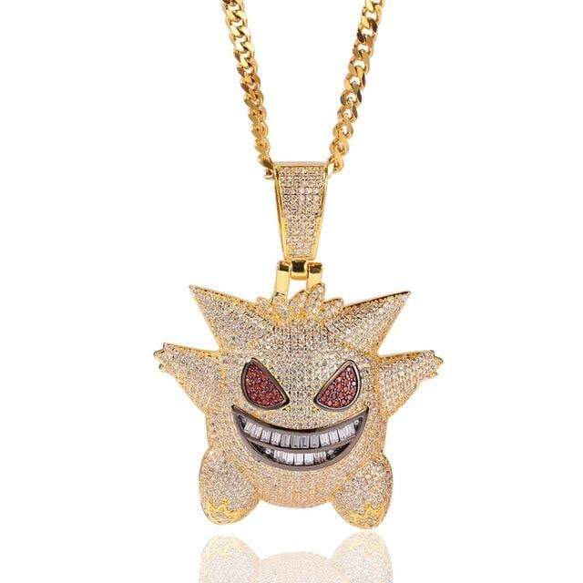 Iced Out XL Gengar Pendant  -   - GreenBox Jewellers - Hip Hop Jewelry - iced out pendant - gold cuban link - shop gld - gld - gold jewelry
