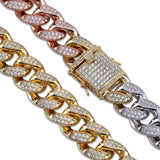 18mm Heavy Iced Tricolor Cuban Link - Green Box Jewellers