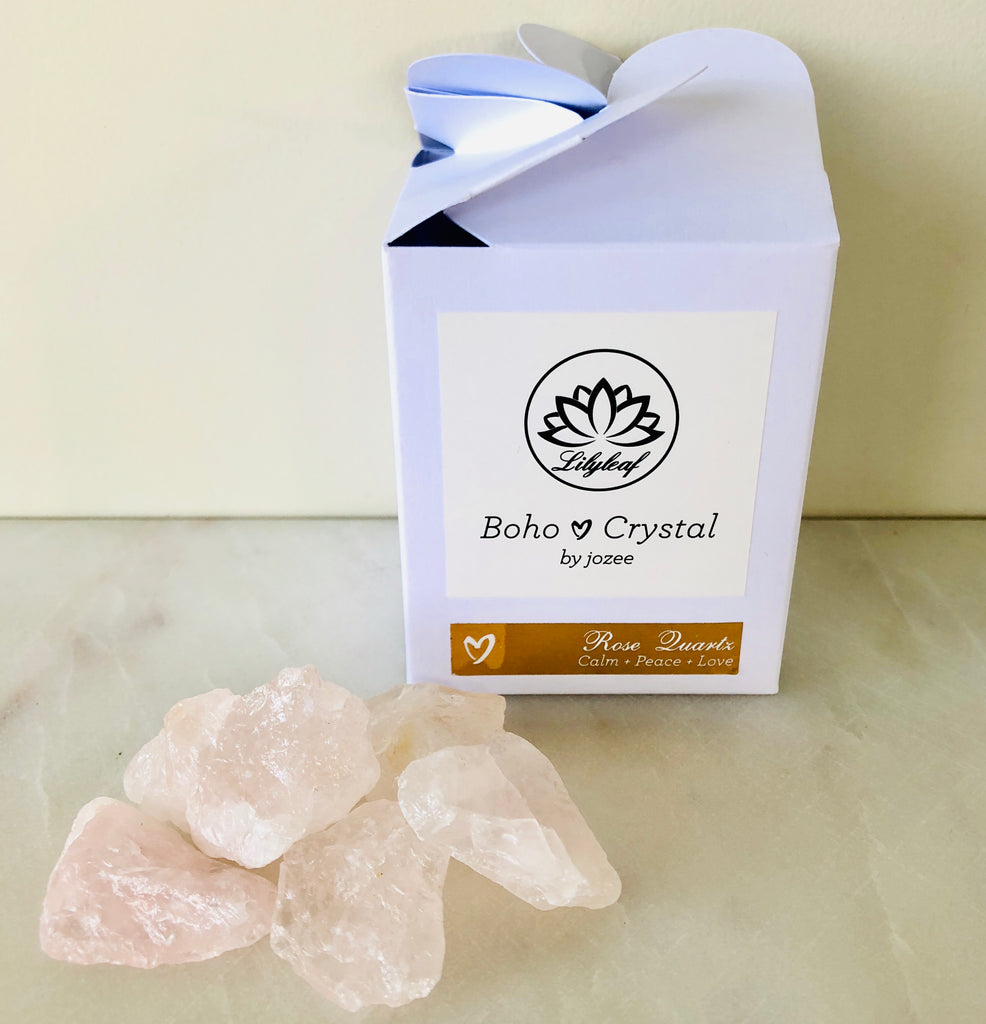 RAW CRYSTAL GIFT BOXES ROSE QUARTZ