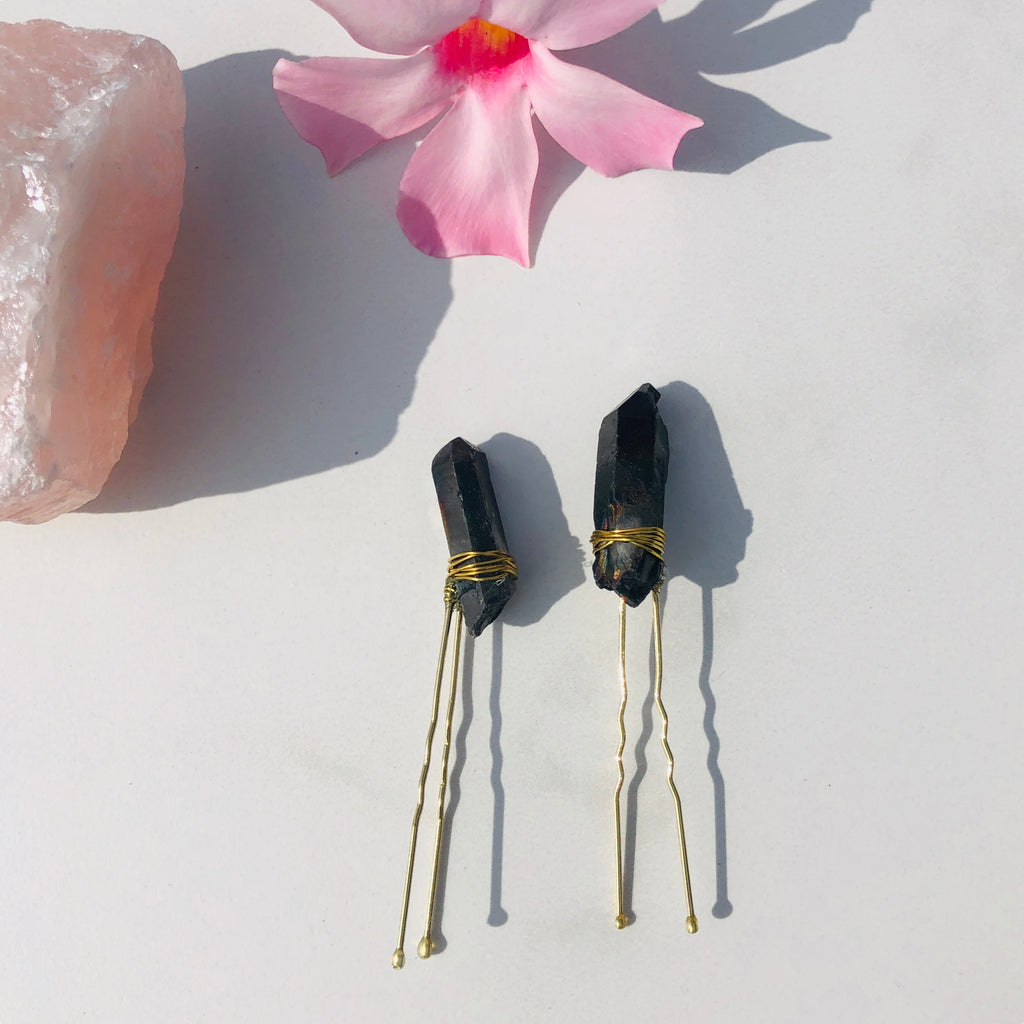 Crystal Hair Pin x Black Quartz