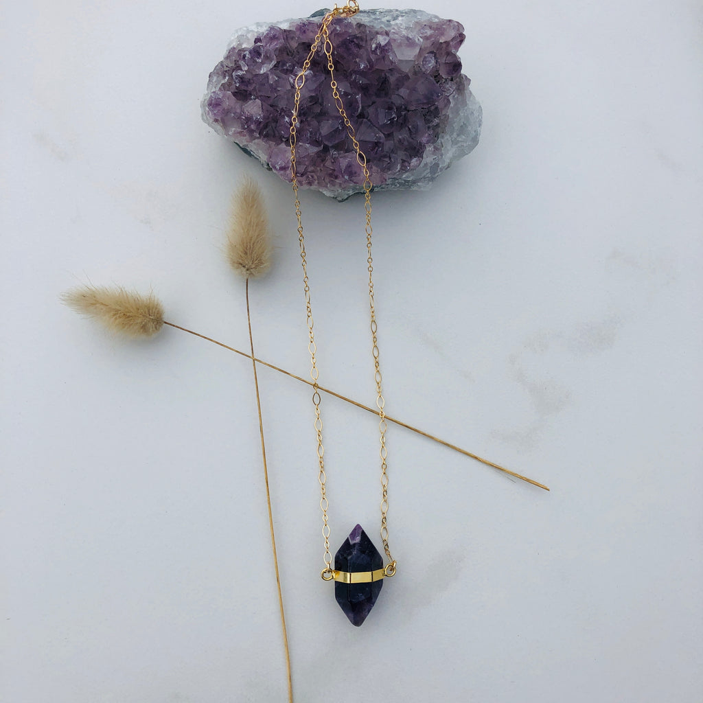 Amethyst Rock Star Goddess Necklace x Gold
