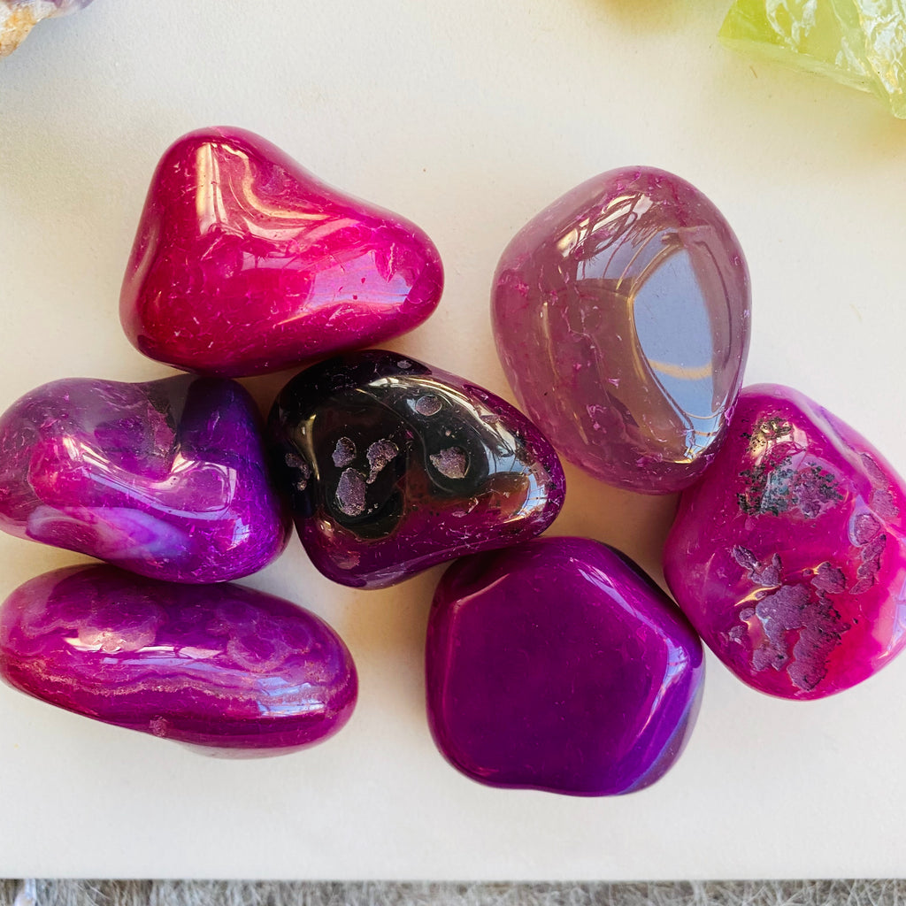 Agate Tumbler Stone x Pink/Purple Dyed x Small