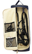 Finer Equine Double Bridle Bag Luxury Equestrian Luggage Sheepskin Lined with Pockets