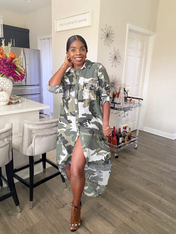 Marley Embellished Camo Dress