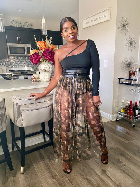 Lizzy Camo Sheer Skirt