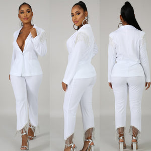 Diamond White Pant Suit
