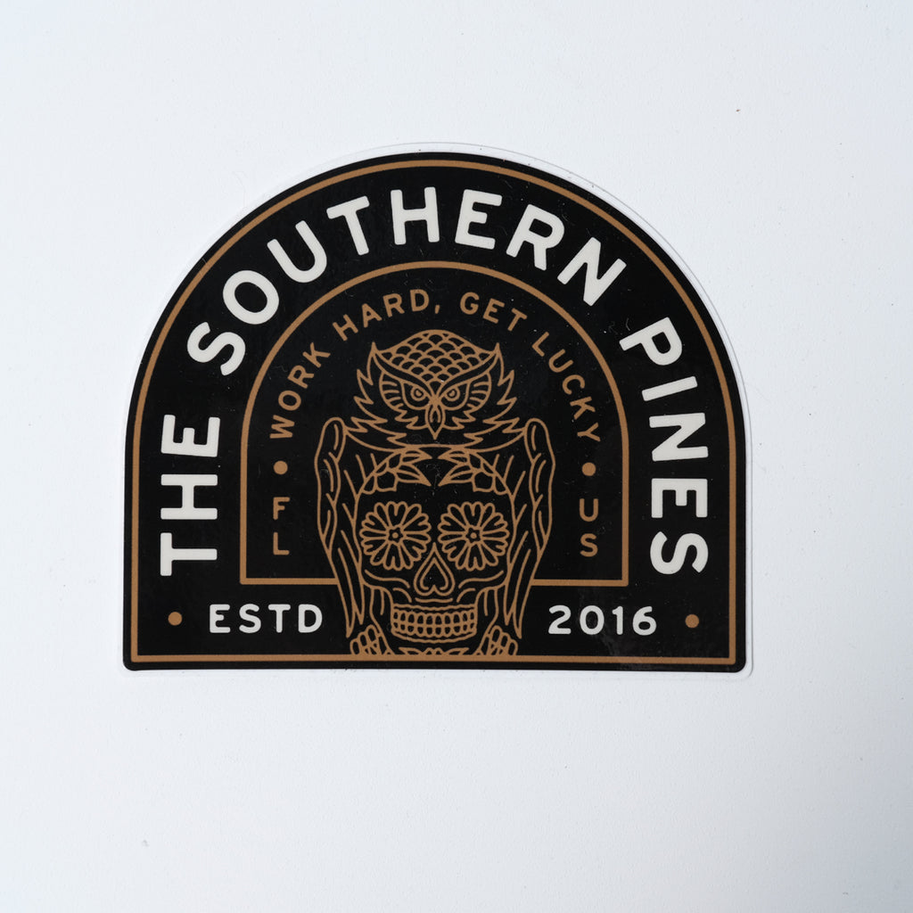 Sticker | Work Hard, Get Lucky Owl | The Southern Pines