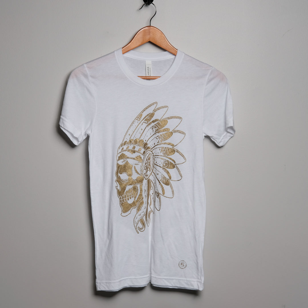 Tee S/S | Skull | White & Gold | The Southern Pines