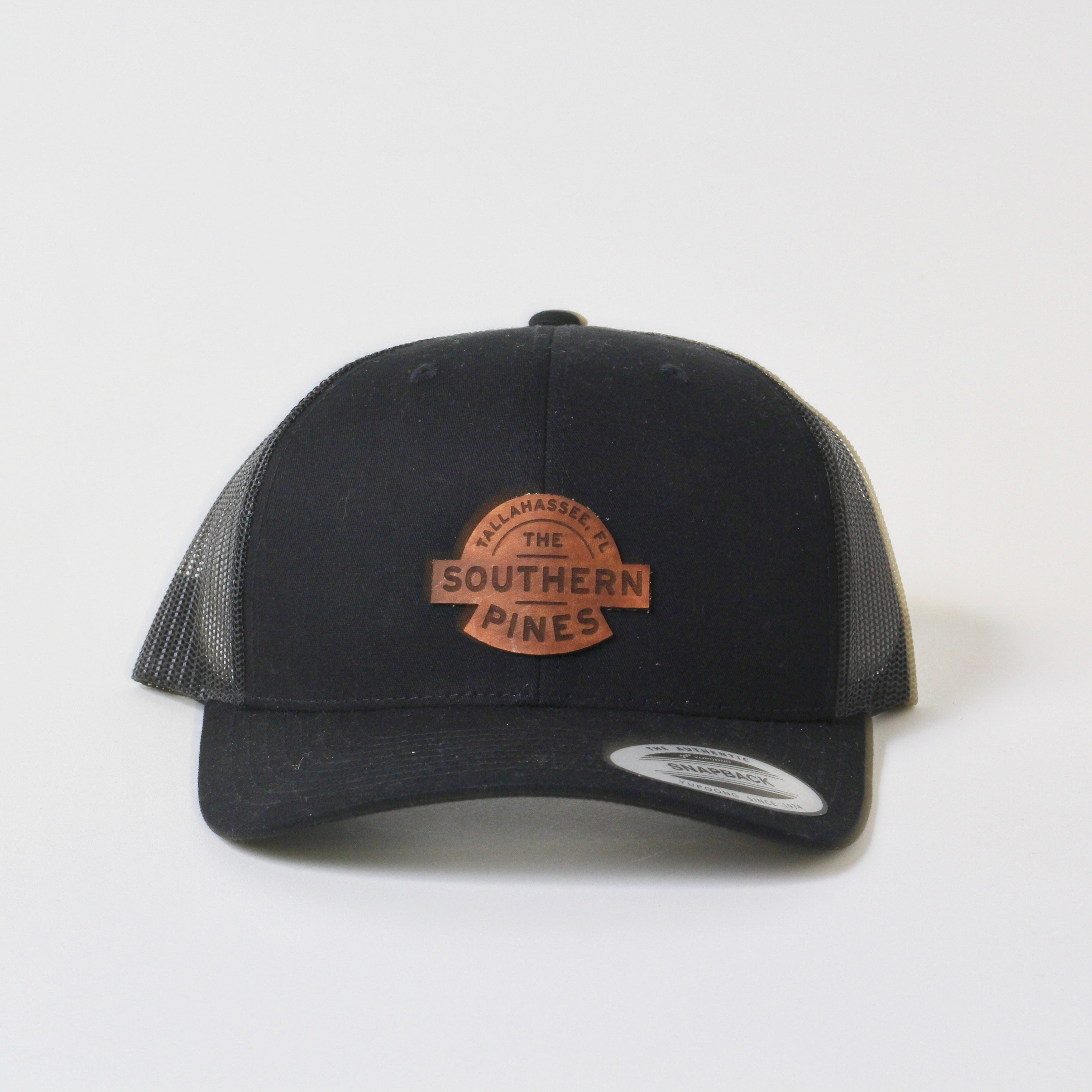 Southern Pines Trucker Hat | Leather | Black on Black | The Southern Pines + Salt and Pine Company