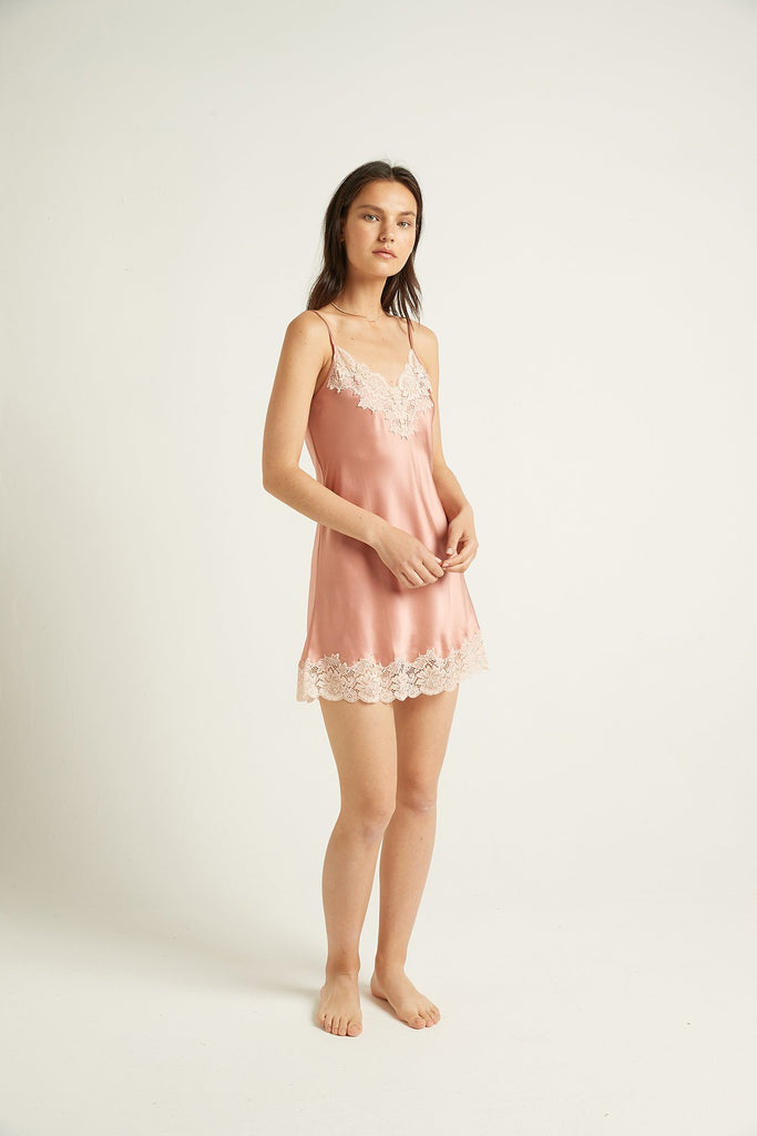 Ginia - Silk Chemise with Lace