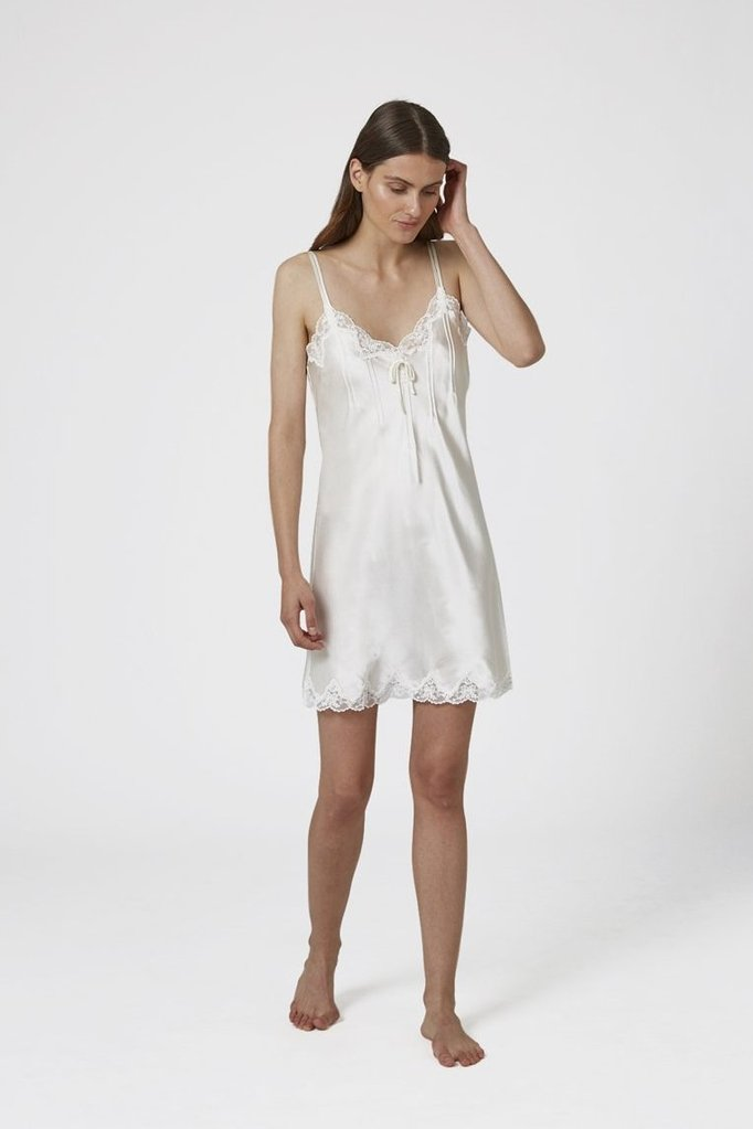 Ginia -  Silk Short Chemise With Pintucks & Lace