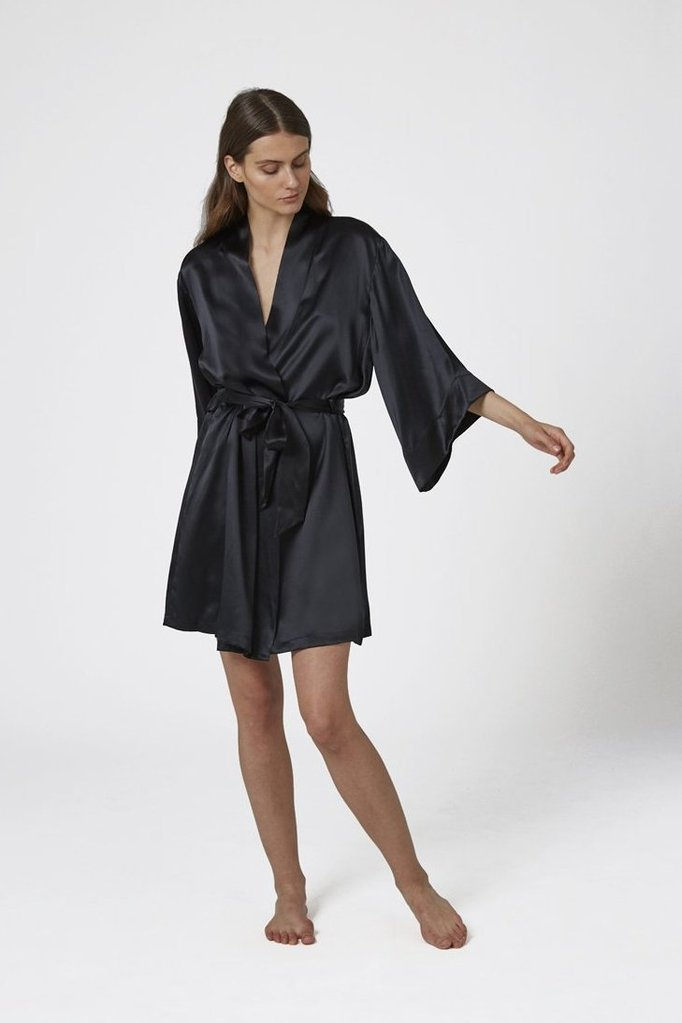 Ginia - Short Silk Wrap Gown