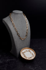 Aria Gold Large Open Link Chain Necklace & Bracelet Set
