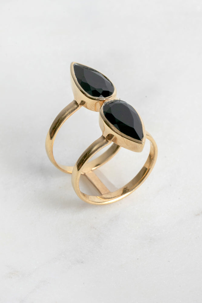 Isla Double Pear Onyx Ring