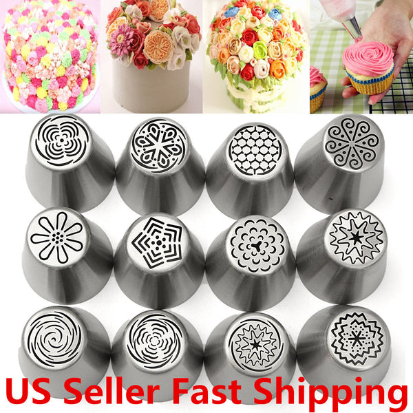 12pcs Russian Tulip Flower Piping Nozzles