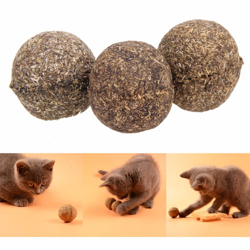 Cats Toy Catnip Ball Natural Menthol Flavor Treats Ball Chasing Toys for Cats Healthy Safe Edible Treating Pet Cat Supplies
