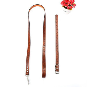Dog Harnesses Lead Set Pet Traction Rope Collar Leashes for Medium Large Dogs Training Supplies PU Leather Dog Collar Leash