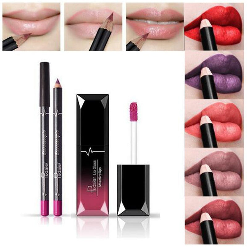 Pudaier 1pc Matte Liquid Lipstick Cosmetic Lip Kit+ 1 Pc Nude Lip Liner Pencil MakeUp Set Waterproof Long Lasting Lipstick Gfit